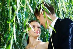 新娘愉快夫妇的新郎 免版税库存图片