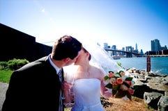 新娘新郎亲吻 库存图片