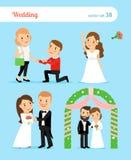新娘新郎婚姻生动描述婚礼 夫妇婚姻纵向建议年轻人 免版税库存照片