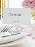 新娘新郎餐位餐具 库存图片