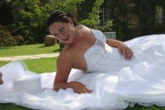 新娘日她的婚礼 免版税库存照片