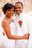 新娘日新郎他们的婚礼 免版税库存照片