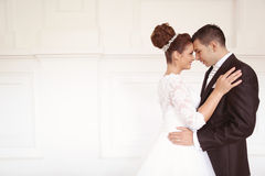 新娘日新郎他们的婚礼 库存照片