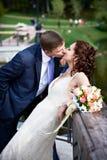 新娘浪漫新郎的亲吻 库存照片