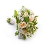 新娘的在白色隔绝的婚礼花束 库存图片