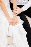 新娘相连新郎的现有量 免版税图库摄影