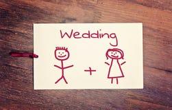 新娘看板卡开花婚姻问候的环形 免版税库存照片