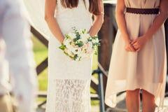 新娘花束组合的新娘  免版税库存图片