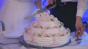 新娘蛋糕剪切新郎婚礼 特写镜头 股票录像