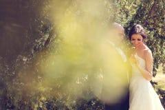 新娘跳舞新郎被射击的顶视图 图库摄影