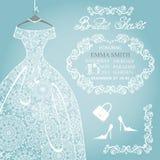 新娘阵雨邀请 婚礼雪花鞋带 免版税图库摄影