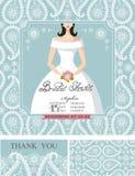 新娘阵雨邀请 新娘,冬天婚礼 向量例证
