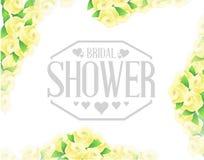 新娘阵雨黄色玫瑰边界标志 免版税库存照片