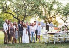 新娘,新郎,摆在为照片的客人在结婚宴会外面在后院 免版税图库摄影