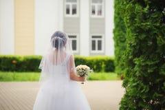 新娘 一件空白礼服的一个女孩 新娘`s返回 免版税图库摄影