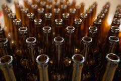 新娘 空的玻璃啤酒瓶,顶视图 免版税库存照片
