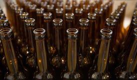 新娘 空的玻璃啤酒瓶,顶视图 免版税库存图片