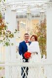 新娘画象在秋天公园 免版税图库摄影