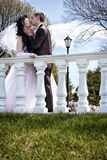新婚佳偶亲吻在栏杆 免版税库存照片