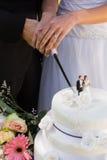 新婚佳偶切口婚宴喜饼的中间部分 库存图片