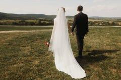 新婚佳偶夫妇,握有新娘的英俊的新郎手vint的 库存图片