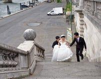新婚佳偶攀登台阶对桥梁亚历山大lll 免版税库存图片