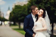 新婚佳偶的亲吻在城市公园 被弄脏的背景 免版税库存照片