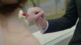 新婚佳偶的感人的手特写镜头视图  影视素材