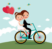 新婚佳偶自行车 图库摄影