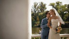新婚佳偶迷人的夫妇的浪漫画象  英俊的新郎体贴亲吻他的脖子和面孔的新娘 影视素材