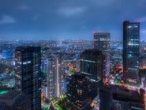 新宿在东京在夜之前,五颜六色的日本人的摩天大楼 免版税库存照片