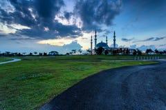 新山,马来西亚-双十国庆2017年:苏丹Iskan清真寺  免版税库存照片