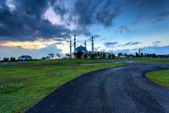 新山,马来西亚-双十国庆2017年:苏丹Iskan清真寺  免版税库存图片