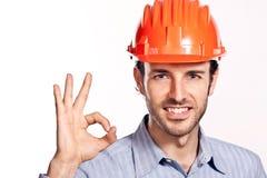新工程师认为在白色查出的正。 免版税库存图片