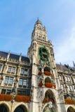 新市镇霍尔Marienplatz的Neues Rathaus在慕尼黑 免版税库存图片