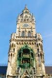新市镇霍尔Marienplatz的Neues Rathaus在慕尼黑 免版税库存照片