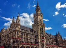 新市镇霍尔Rathaus -慕尼黑-德国 库存图片