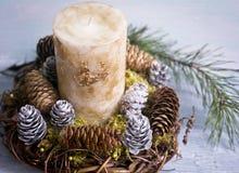 新年与一个蜡烛的` s构成 免版税库存照片