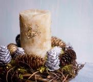 新年与一个蜡烛的` s构成 免版税库存图片