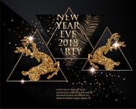 新年与圣诞树的党横幅分支,鹿、瓶香槟和三角 黑色金子 库存图片