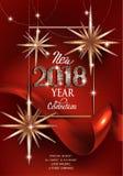新年与圣诞节deco星和红色丝带的邀请卡片 皇族释放例证