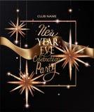新年与圣诞节deco星和金丝带的邀请卡片 也corel凹道例证向量 皇族释放例证