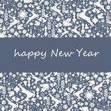 新年与手拉的剪影的贺卡鹿 免版税库存照片