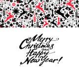 新年与手拉的剪影的贺卡鹿 免版税库存图片