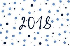 新年与深蓝和闪耀的蓝色小点的贺卡 免版税图库摄影