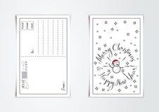 新年与线艺术的贺卡设计传统化了圣诞节雪人和雪花 也corel凹道例证向量 向量例证