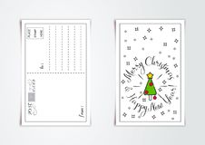 新年与风格化圣诞树和响铃的贺卡设计 也corel凹道例证向量 向量例证