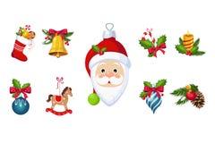 新年传统标志汇集,圣诞树装饰,响铃,袜子,圣诞老人项目,马装饰传染媒介 皇族释放例证
