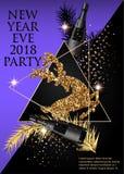 新年党与圣诞树早午餐、鹿、瓶香槟和三角的邀请卡片 免版税库存照片