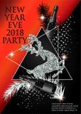 新年党与圣诞树早午餐、鹿、瓶香槟和三角的邀请卡片 免版税库存图片